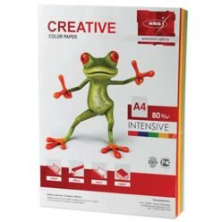 Бумага CREATIVE color (Креатив), А4, 80 г/м2, 100 л. (5 цв.х20 л.), цветная интенсив, БИpr-100r